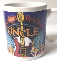 You re One Rockin Uncle Coffee Mug Guitar Fire Record Wings Blue Funny Coffee Mugs, Coffee Humor, Quotes Girlfriend, Make A Joyful Noise, Cool Uncle, Daddy, Uncle Gifts, Old World Maps, Father's Day