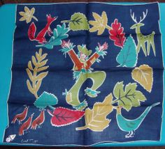 Vintage Carl Tait Signed Scarecrow Fall Handkerchief Herrmann IRISH LINEN Sold for $50