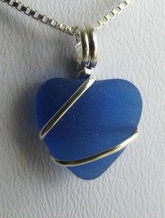 Cobalt Blue Sea Glass Heart Necklace