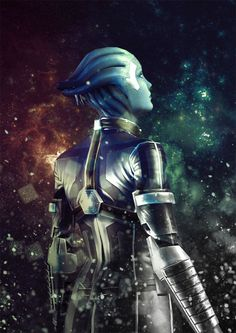 Liara T'soni Mass Effect illustrated poster // by shuckledesigns