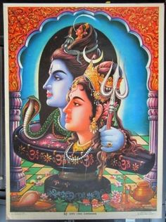 India-vintage-poster-SHIV-LING-DARSHAN-10-x-14
