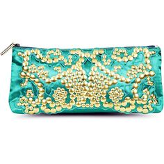 POSITANO Gilded Clutch, Emerald ❤ liked on Polyvore featuring bags, handbags, clutches, purses, bolsos, embellished handbags, beige purse, hayden harnett handbags, beige handbags and hayden-harnett
