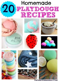 20 Homemade Playdough Recipes ✔ Tag Yourself or Share to Add to your Timeline ✔  Friend or Follow me: http://www.facebook.com/tennie.keirn Join our support group here:  www.facebook.com/groups/naturalweightloss1