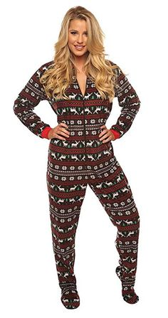 f1bf3f243b 100% Polyester Ultra Soft Fleece Onesie Pajama Jumpsuit Festive Reindeer  and Christmas Tree Print Long