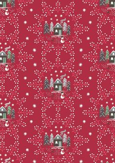 Snowflake Village Red - Cotton - From Fat Quarter Christmas Snowflakes, Christmas Fabric, New Forest, Ticking Stripe, Woodland Animals, Beautiful Christmas, Winter Collection, Countryside, Elephant