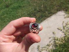 Garnet Ring Design Ring Sterling Silver Ring by ArtemisJewellery