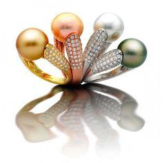 Pearl and diamond rings by Yoko London/Euro Pearls