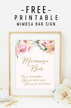 image about Free Printable Mimosa Bar Sign identify 13 Easiest Mimosa bar indicator pics within just 2017 Several shower, Little one