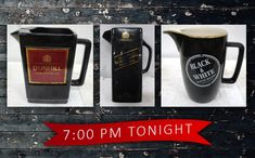 These vintage water jugs are all UNRESERVED and going under the hammer TONIGHT at pm in the Antiques, Collectibles and Vintage Online Auction! Browse more online ▶️ Water Jugs, Under The Hammer, French Press, Coffee Maker, Auction, Black And White, Antiques, Vintage, Water Pitchers
