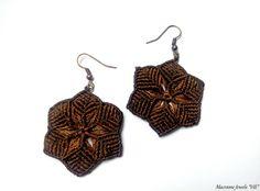 "Macrame Boho Earrings ""Flower"",Micro Macrame Earrings,Brown Macrame Earrings by MacrameJewelsVili on Etsy https://www.etsy.com/listing/249465304/macrame-boho-earrings-flowermicro"