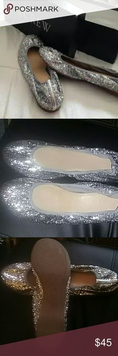 J. CREW LULU GLITTEE BALLET FLATS, 8.5 Great condition these are a size 9 but fit 8.5 better, really sparkles, matches any outfit casual or dresses, fun extra pair of shoes for special events when your heels starts to hurt your feet , just toss these in your purse J. Crew Shoes