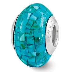 Sterling Silver Reflections Turquoise Mosaic Bead