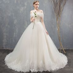 Elegant Champagne Wedding Dresses Ball Gown Lace Off-The-Shoulder Backless Sleeveless Chapel Train Wedding Fantasy Wedding Dresses, Princess Wedding Dresses, Bridal Dresses, Wedding Gowns, Bling Wedding, Wedding Shoes, Ball Dresses, Ball Gowns, Weeding Dress