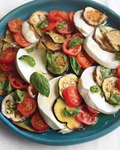 Eggplant, Tomato, and Mozzarella Salad. Oh lord have mercy, it's seriously like this recipe was made just for me! total yum!