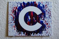 Chicago Cubs Melted Crayon Art by MikeAndKatieMakeArt on Etsy