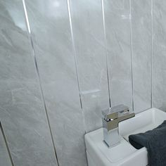 dark grey bathroom wall panels - large tile effect - small