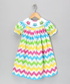 Take a look at this Rainbow Zigzag Bishop Dress - Infant, Toddler & Girls on zulily today!