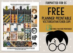Free Printable Harry Potter Planner Stickers from Victoria Thatcher Scrapbook Harry Potter, Harry Potter Planner, Harry Potter Printables, Harry Potter Free, Harry Potter Stickers, Theme Harry Potter, Free Erin Condren, Erin Condren Life Planner, Printable Planner Stickers