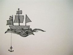 Like this! But with a bit more movement in the shape of the ship, and obviously taking into consideration that this probably wouldn't work as a small-ish tattoo. And no anchor (FOR NOW).