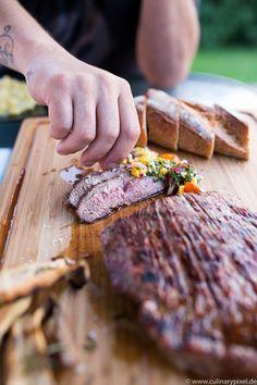 Irish Beef Flank Steak vom Big Green Egg, Mango-Tomaten-Salsa
