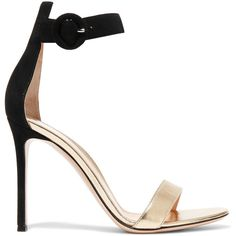 Gianvito Rossi Suede and metallic leather sandals (2.775 BRL) ❤ liked on Polyvore featuring shoes, sandals, heels, footwear, gianvito rossi, gold, strap sandals, black suede shoes, black leather shoes and black high heel shoes