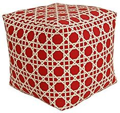 Codson Park 81155 Kane Red Outdoor/Indoor Pouf, 18-Inch