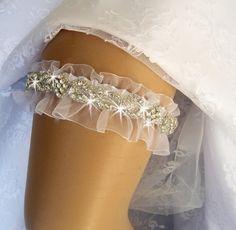 Wedding Garter Rhinestone Garter Crystal Garter by nanarosedesigns, $54.00