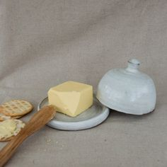 Stoneware Butter Dish in White by Clod & by ClodandPebbleShop