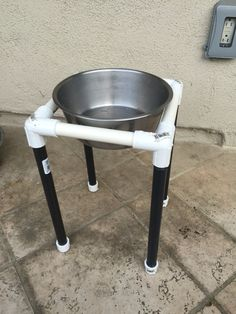PVC dog bowl holder! Easily assembles and breaks down! Good for camping or just outside on the patio!