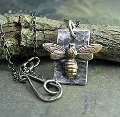 Bee Pendant Sterling Silver and Brass  Bee My by LavenderCottage