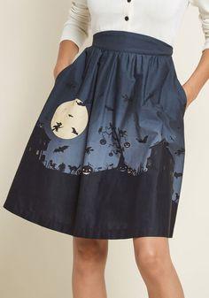 d7ddb78b47 Hint of Haunted Cotton Skirt 1950s Skirt