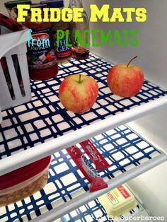 ~ DIY fridge mats from vinyl placemats….Keep your fridge clean with fridge mats Organization Hacks, Kitchen Organization, Organizing Ideas, Storage Hacks, Organising, Food Storage, Storage Solutions, Storage Ideas, Home Projects