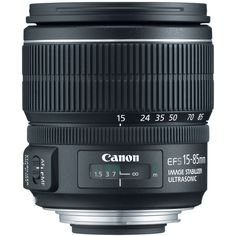 Canon EF-S 15-85mm f/3.5-5.6 IS USM UD Standard Zoom Lens for Canon Digital SLR Cameras (Certified Refurbished). This Certified Refurbished product is tested and certified to look and work new. The refurbishing process includes functionality testing, basic cleaning, inspection, and repackaging. 15-85mm lens with f3.5-f.5.6 aperture; for use with APS-C cameras. 35mm equivalent to 24-136mm focal length range. Dedicated image stabilization. Lens construction of 17 elements in 12 groups.