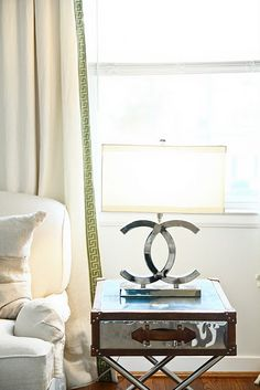 Greek key trim and oh my...chanel  lamp!