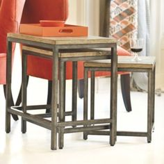 Love this set and they can be moved around.. $359 Durham Nesting Tables   Ballard Designs