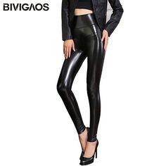 BIVIGAOS Fall Winter Women's Fleece Black Leather Pants Female PU Leggings Slim Skinny High Waist PU Leggings Trousers For Women //Price: $18.25 & FREE Shipping //     #leggings