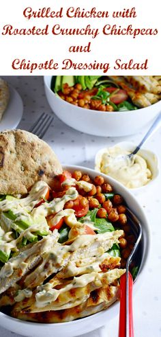 Fresh and Healthy Salad with Grilled Chicken, Roasted Crunchy Chickpeas and Spicy Mayo and Chipotle Paste Dressing Healthy Salads, Healthy Eating, Healthy Recipes, Healthy Food, Raspberry Syrup Recipes, Roasted Chickpea Salad, Chipotle Dressing, Chipotle Paste, Crunchy Chickpeas