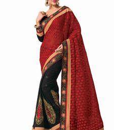 Buy Red - Black embroidered jacquard saree with blouse jacquard-saree online