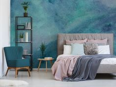 watercolour inspired wall mural in bedroom with grey toned bed and blush pink bedding Scenic Wallpaper, Bold Wallpaper, Print Wallpaper, Bedroom Wallpaper, Blue Wallpapers, Modern Wallpaper Designs, Contemporary Wallpaper, Designer Wallpaper, Simple Interior