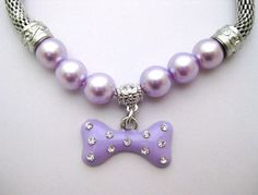 Pet Cat dog pearls necklace collar bone charm pendant Puppy jewelry 4 colors 5 sizes