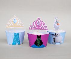 ELSA ANNA OLAF Cupcake Wrapper Set, Printable for Frozen Birthday, Frozen Birthday Party by IraJoJoBowtique on Etsy https://www.etsy.com/listing/225805759/elsa-anna-olaf-cupcake-wrapper-set