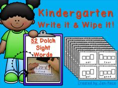 Give your students the gift of independence with these hands-on activity cards! Each card has a Dolch high-frequency sight word and space to print the word above. You will notice the letter boxes help your little ones with letter formation and assist in completely their independent work. :)