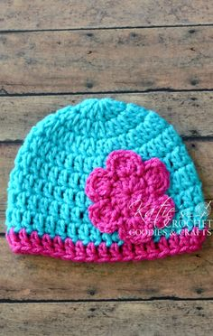 Free Flower Crochet Hat Pattern | Katie's Crochet Goodies