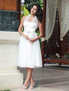 Empire Halter Knee-length Tulle Wedding Dress – USD $ 129.99