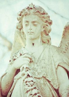 ☫ Angelic ☫ winged cemetery angels and zen statuary -winter angel