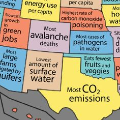 MAPS: What Your State Is Good At, And What It's Lame At (NY = Lowest Per Capita Energy Use but Top Health Risk Air Pollution. I assume this is down state mostly, Central New York has been praised for it's clean air! Science Classroom, Classroom Activities, Judgement Quotes, Ap Environmental Science, Us School, Map Skills, Map Globe, Energy Use, Sustainable Energy