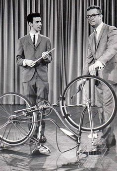 A young multi-instrumentalist Frank Zappa playing a bicycle on Steve Allen's new tv show in 1963.