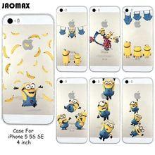 Bastante divertido plátano amarillo minions para iphone 5/5s/se claro transparente de silicona suave cubierta del teléfono(China (Mainland))