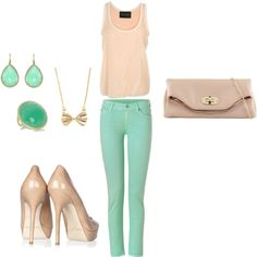 love the tank, jeans, heels and clutch - i think I would pick different jewelry