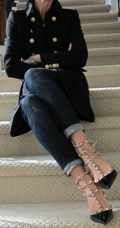 shoes, jacket, jean, fashion, button, clothes i want, street styles, valentino shoe, coat